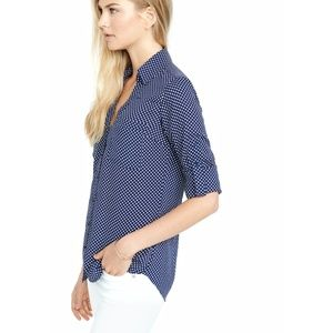 Express Blue White Polka Dot Portofino Shirt M